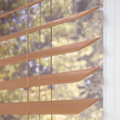 "Hotblinds Premier Woodwinds Blind with 2"" S-Curve Slats - Wood Tones"