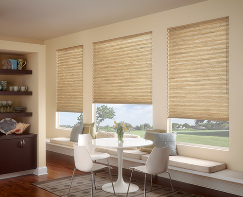 Graber EvenPleat Pleated Shades-Grasscloth Fabric