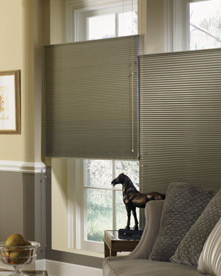 "Graber Crystal Pleat Cellular Shade with Night Sky 3/8"" Single Cell Blackout Fabric"